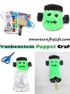 Frankenstein puppet kid craft - halloween kid craft -amorecraftylife.com #kidscraft #craftsforkids #preschool