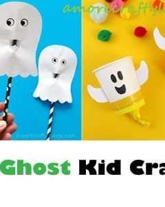ghost kid crafts - halloween kid craft - fall kid craft -amorecraftylife #kidscraft #craftsforkids #preschool