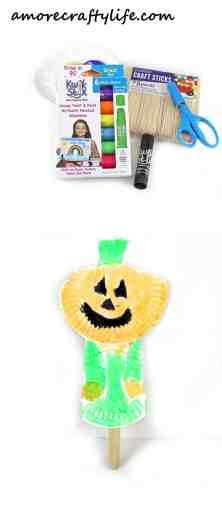 jack-o-lantern puppet kid craft - pumpkin craft - halloween kid craft -amorecraftylife.com #kidscraft #craftsforkids #preschool