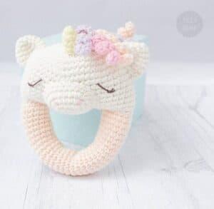 baby rattle crochet pattern - unicorn crochet patterns - crochet pattern pdf - amorecraftylife.com #unicorn #baby #crochet #crochetpattern