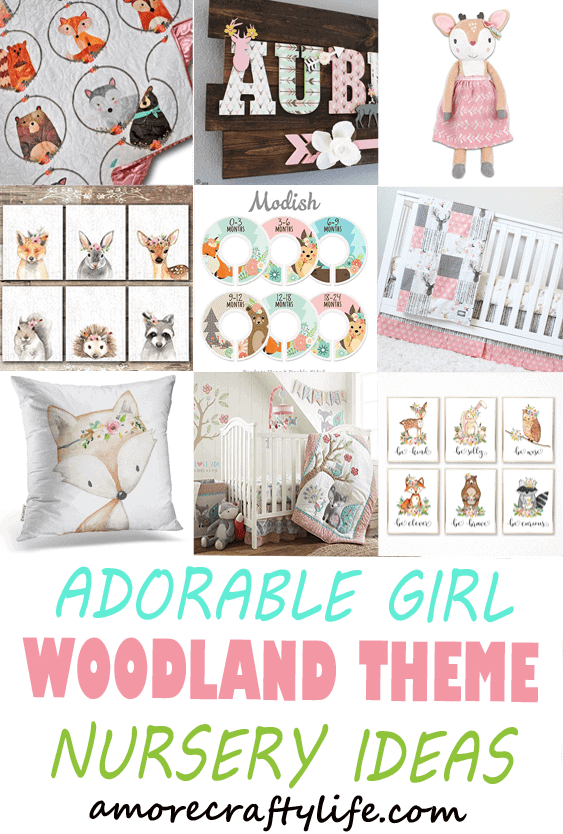 girl Woodland nursery idea - girl nursery theme - animal nursery - amorecraftylife.com #baby #nursery #babygift #woodland