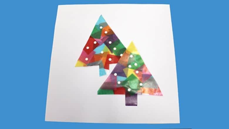 winter tissue paper christmas tree kid craft - christmas kid craft - arts and crafts activities - amorecraftylife.com #kidscraft #craftsforkids #christmas #preschool