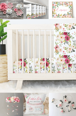 floral nursery ideas- girl nursery theme - flowers nursery - amorecraftylife.com #baby #nursery #babygift #babygirl