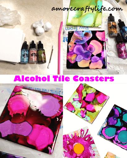 alcohol tile coaster craft - arts and crafts activities - diy craft- amorecraftylife.com #kidscraft #craftsforkids