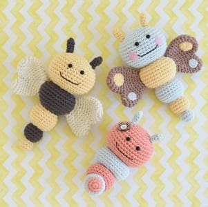 Spring bunny rattle crochet pattern | Bunny with flower crown | 300x301