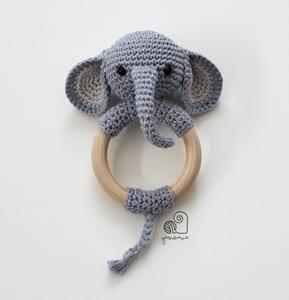 baby rattle crochet pattern - elephant crochet pattern- animal crochet pattern pdf - amigurumi amorecraftylife.com #crochet #crochetpattern