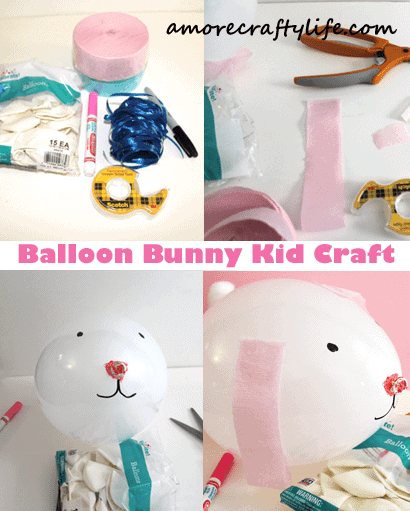 balloon bunny kid crafts - easter kid crafts - arts and crafts activities -spring kid craft- amorecraftylife.com #kidscraft #craftsforkids #easter #preschool