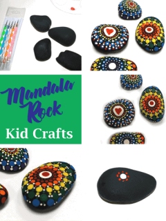 Mandala Rock Kid Crafts - dot rock painting - insect kid craft amorecraftylife.com #kidscrafts #craftsforkids #diy