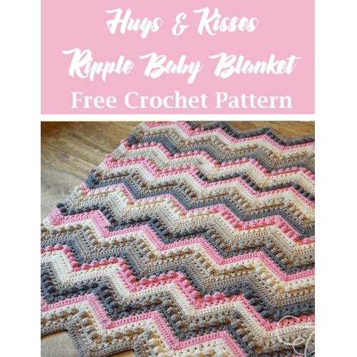 hugs kisses baby blanket free crochet pattern - ripple crochet pattern- pattern pdf - amorecraftylife.com #crochet #crochetpattern #freecrochetpattern