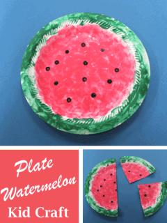 Plate watermelon Kid Craft- amorecraftylife.com #kidscrafts #craftsforkids #preschool
