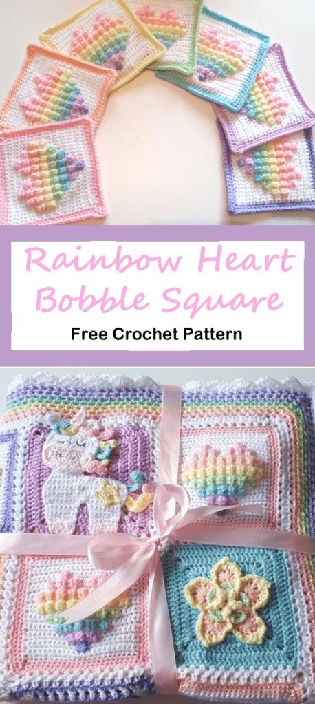 rainbow heart bobble square free crochet pattern - baby blanket crochet pattern - amorecraftlife.com #baby #crochet #crochetpattern #freecrochetpattern