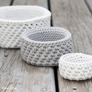Baskets Free Crochet Pattern - amorecraftylife.com #crochet #crochetpattern #freecrochetpattern