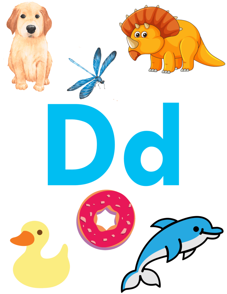 Free Letter D Printable - Letter D Activities - Preschool kid craft - alphabet math recipe amorecraftylife.com #preschool #craftsforkids #kidscrafts