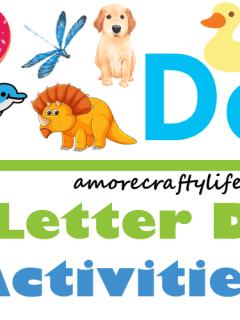 Letter D Activities - Preschool kid craft - alphabet math recipe amorecraftylife.com #preschool #craftsforkids #kidscrafts