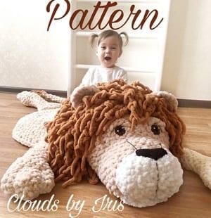 lion crochet rug patterns- mat crochet pattern- amigurumi amorecraftylife.com #crochet #crochetpattern #diy