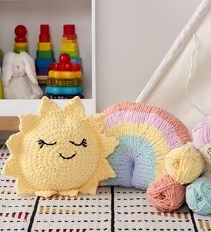 sun rainbow free baby pillow crochet pattern - amorecraftylife.com #baby #crochet #crochetpattern #freecrochetpattern
