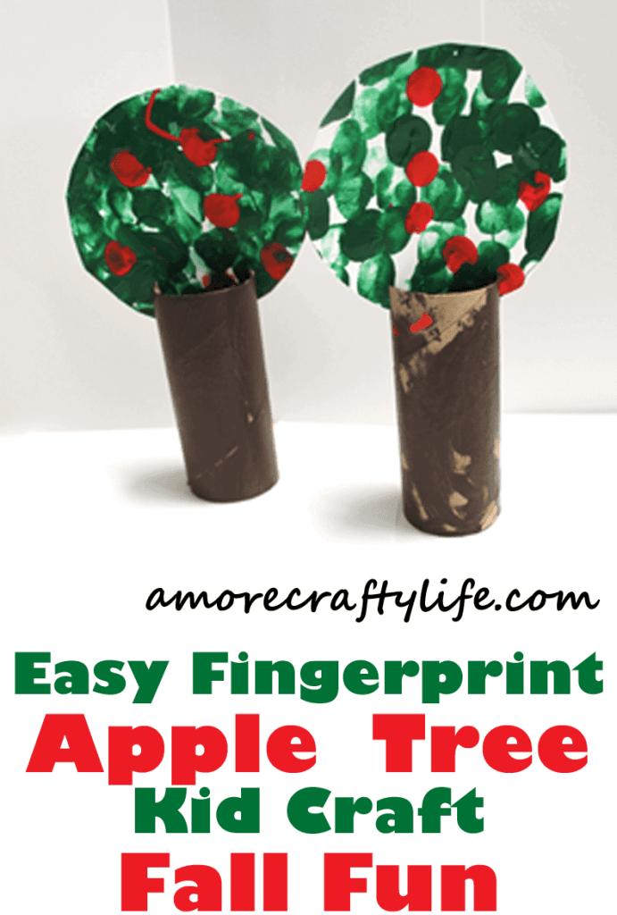 fingerprint apple tree kid crafts- fall kid craft - autumn kid craft - amorecraftylife.com #kidscrafts #craftsforkids #preschool #fall