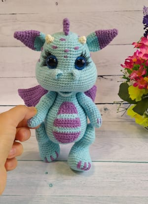 diy baby Gift Crochet pattern amigurumi plush animal toy the purple dragon english pdf download file tutorial