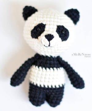 Miniature crochet Panda, Tiny Panda, little bear, Amigurumi tiny ... | 359x300