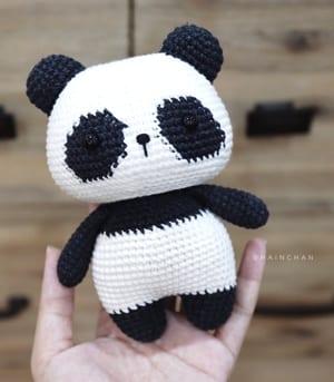 Miniature Purple Panda Crochet Thread Pattern | Crochet thread ... | 343x300