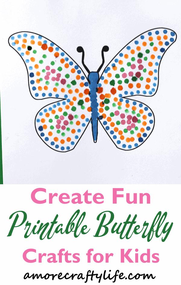 free printable butterfly dot painting craft -crafts for kids- bug kid crafts - amorecraftylife.com #preschool #kidscraft #craftsforkids