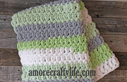 gray green easy striped crochet baby blanket pattern - amorecraftylife.com -bernat blanket yarn - baby afghan - free printable crochet pattern #baby #crochet #crochetpattern #freecrochetpattern