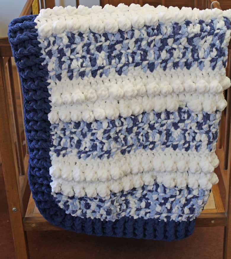 free blue dreams baby blanket crochet pattern - bernat blanket yarn - amorecraftylife.com - boy blanket #baby #crochet #crochetpattern #freecrochetpattern