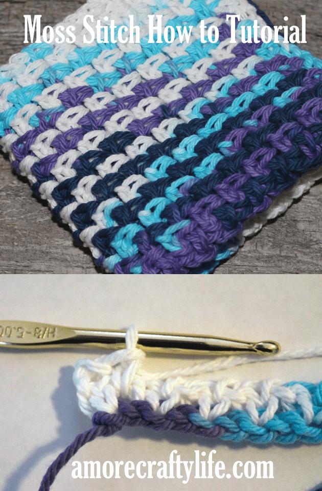 Experimente um ponto de crochê simples para iniciantes usando pontos simples e de corrente.  Como fazer o ponto de musgo de crochê - Granito de linho - amorecraftylife.com