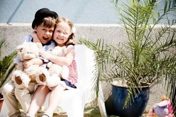 kids hugging ans laughing