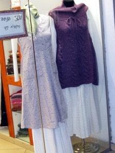 Tunics over white skirts