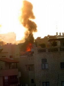 Gas canister burning on roof