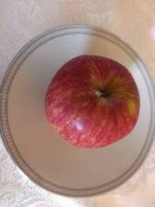apple on china plate