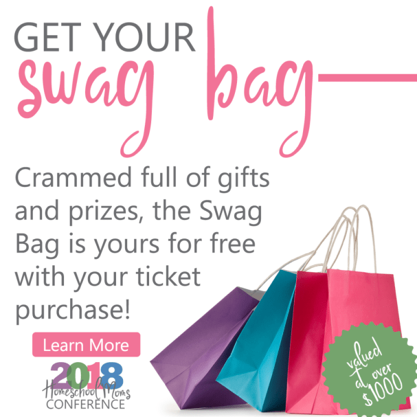 swag bags for 2018 Homeschool Mom conference
