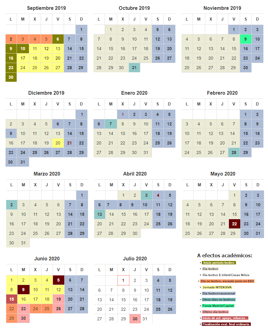 Calendario Escolar 2020 2019 Comunidad De Madrid.Calendario Lectivo Ampa Salvador Dali