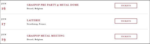 De tourdata op de Trivium-website