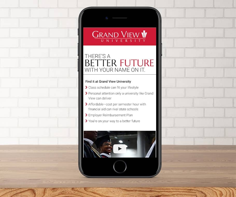 Grand View University Mobile Landing Page