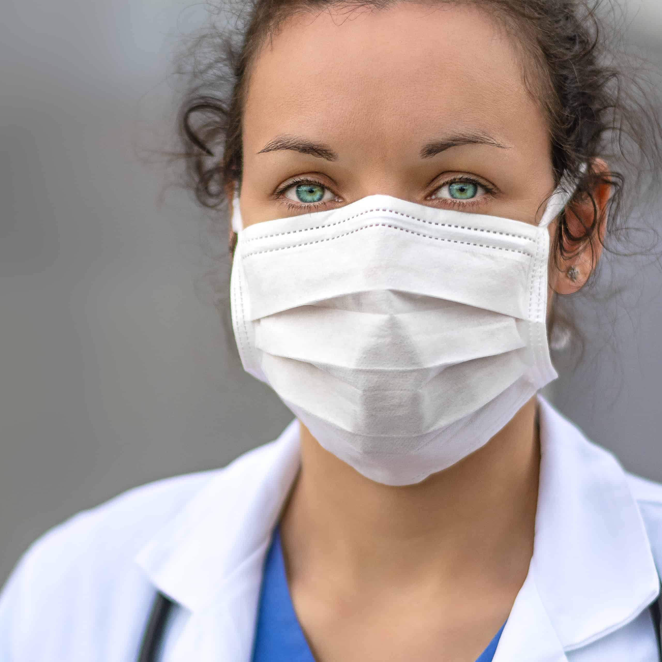 healthcare marketing promotion showing a nurse in a mask