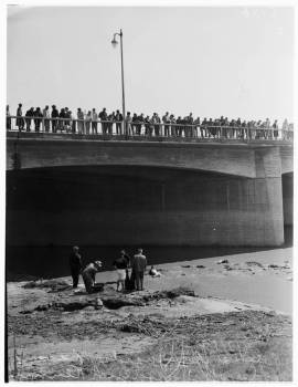 Recovering a body from the LA River, 1952