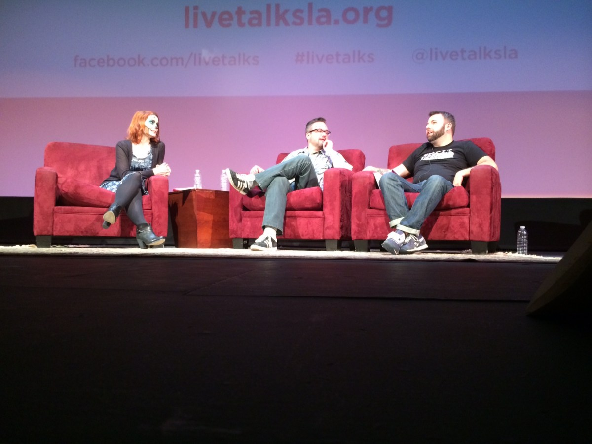 "From left: Felicia Day in conversation with Jeffrey Cranor and Joseph Fink of ""Welcome to Night Vale."" Photo courtesy of Live Talks LA."