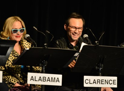 "Patricia Arquette and Christian Slater attend the Film Independent Live Read of ""True Romance"" at Ace Theater. (Photo by Araya Diaz/WireImage)"