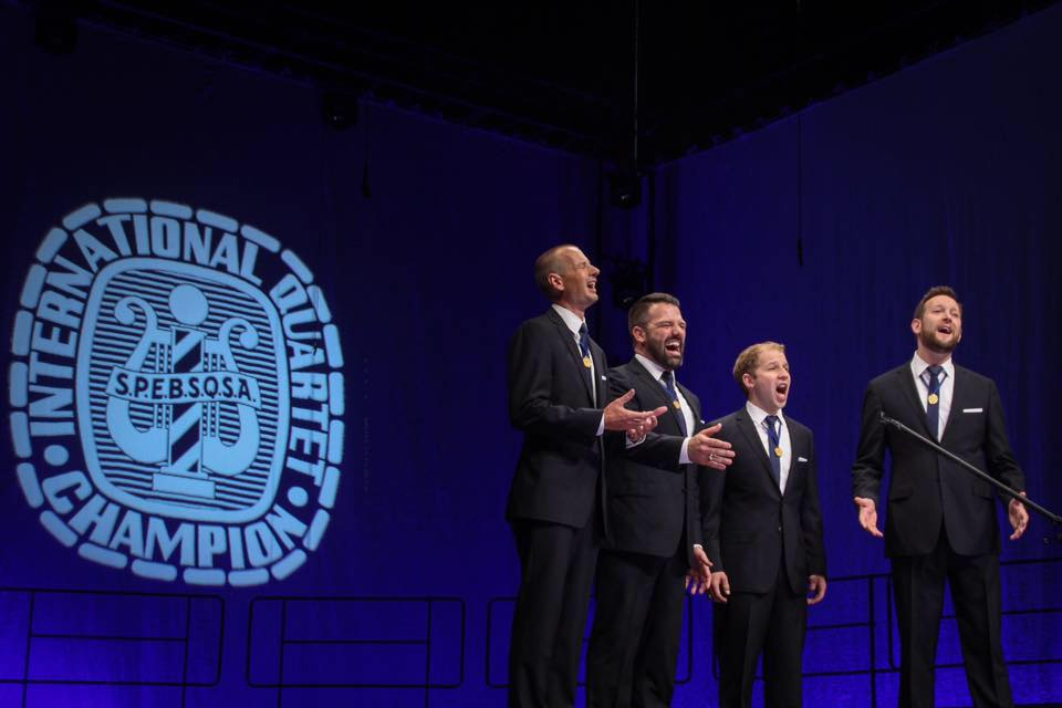 Gold medalist barbershop quartet OC Times. Shawn York (tenor), Sean Devine (lead), Cory Hunt (bass), and Patrick Claypool (baritone)