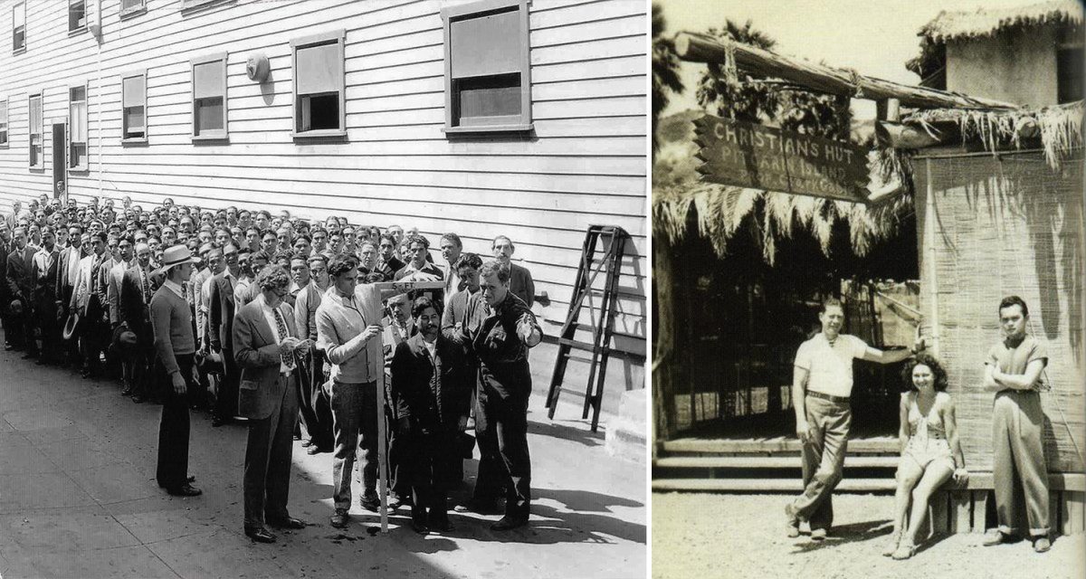 """On the left, a photograph of Filipino men in line for a casting call at Metro-Goldwyn-Mayer Studios for """"The Pagan."""" (Courtesy of Filipinos in Hollywood by Carina Monica Montoya, Arcadia Publishing and Marc Wanamaker.) On the right, Tiki-Ti founder Ray Buhen and cast members from """"Mutiny on the Bounty"""" (1935) in front of Christian's Hut on Catalina Island. The bar was named after Clark Gable's character in the film and was built to serve the cast and crew. (Courtesy of the Buhen Family.)"""