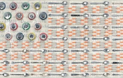 Debra Thompson White Death Encaustic Assemblage 26 x 48 inches 2015