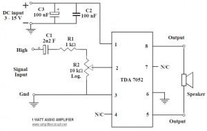 1w audio amplifier circuit based tda7052 amplifier circuit design1w audio amplifier circuit based tda7052