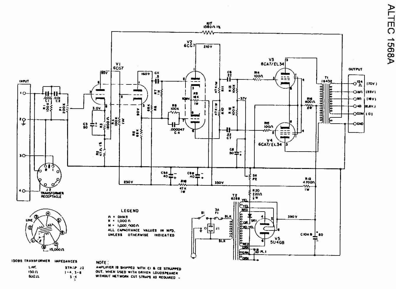 Altec Amplifier Transformer Wiring Schematics