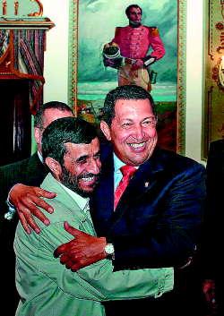 Iranian President Ahmadinejad and Venezuelan President Chavez Embrace