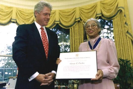 Rosa Parks with Bill Clinton