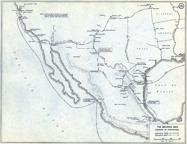 Map of Mexican American War