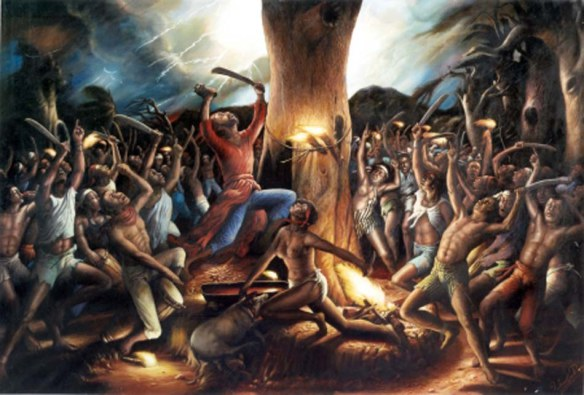 Artistic rendering of Haitian voodoo ceremony.
