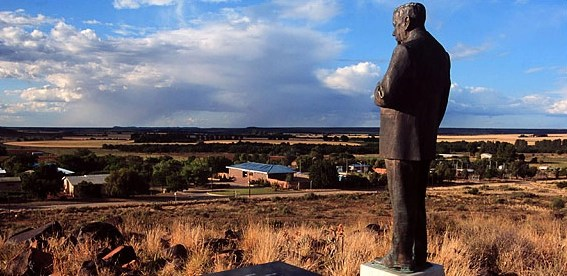 "A statue of Hendrik Verwoerd, the ""architect of apartheid,"" overlooks Orania."
